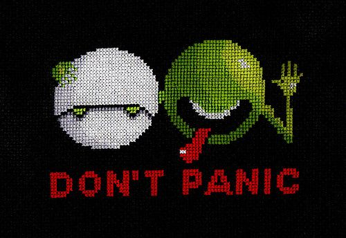 Don't Panic Hitchhikers Guide to the Galaxy cross stitch