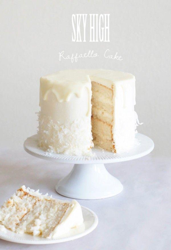 Sky High Raffaello Cake with cream cheese filling and white chocolate ganache