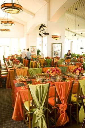 orange /lime green chair sashes, chair drapes