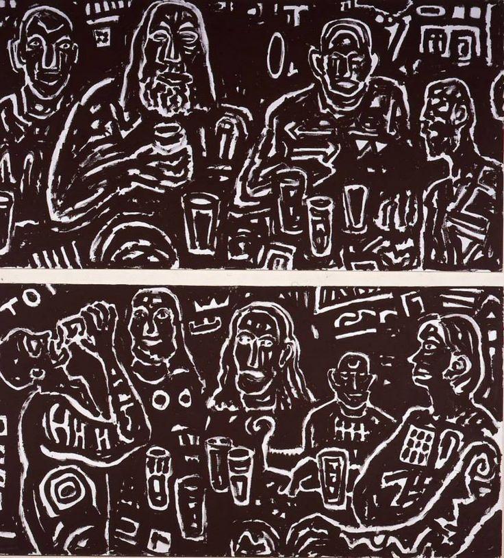 A.R. PENCK - Erdbeben im Bierkeller I - II -  #reggiadicaserta #terremoto  Le figure dai contorni bianchi su fondo nero sono fuochi fatui avvolti nell'oscurità delle loro abitudini. L'uomo dai capelli lunghi ci guarda come un moderno Messia che rimprovera il genere umano dell'alienazione in cui si è confinato; vittima anch'egli di questa condizione, sembra chiedere alla terra stessa di sollevarsi in un terremoto che scuota l'uomo dal suo stato di torpore.