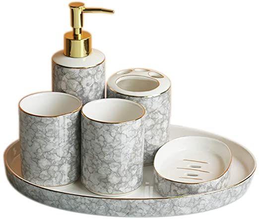 Bathroom Vanity Decor, Bathroom Soap Dispenser Set With Tray