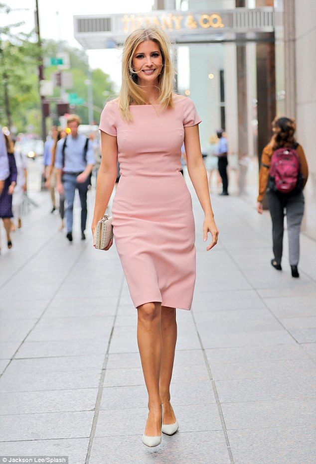 All-around: The businesswoman finished off her look with pale heels and a white…