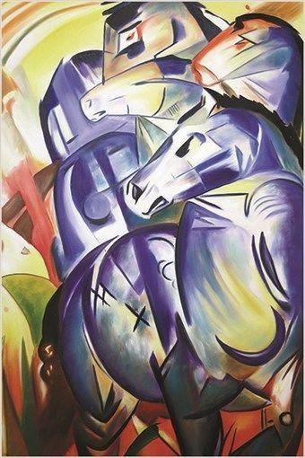 BLUE HORSE REPRODUCTION franz marc VINTAGE ART POSTER colorful cubist 24X36