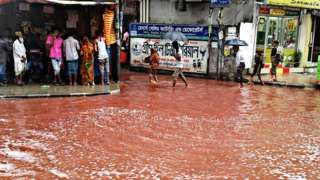 The Shantinagar area of Dhaka, Bangladesh where blood and floodwaters have mixed.