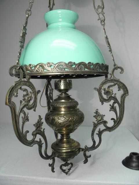 VICTORIAN EMBOSSED BRASS HANGING LAMP