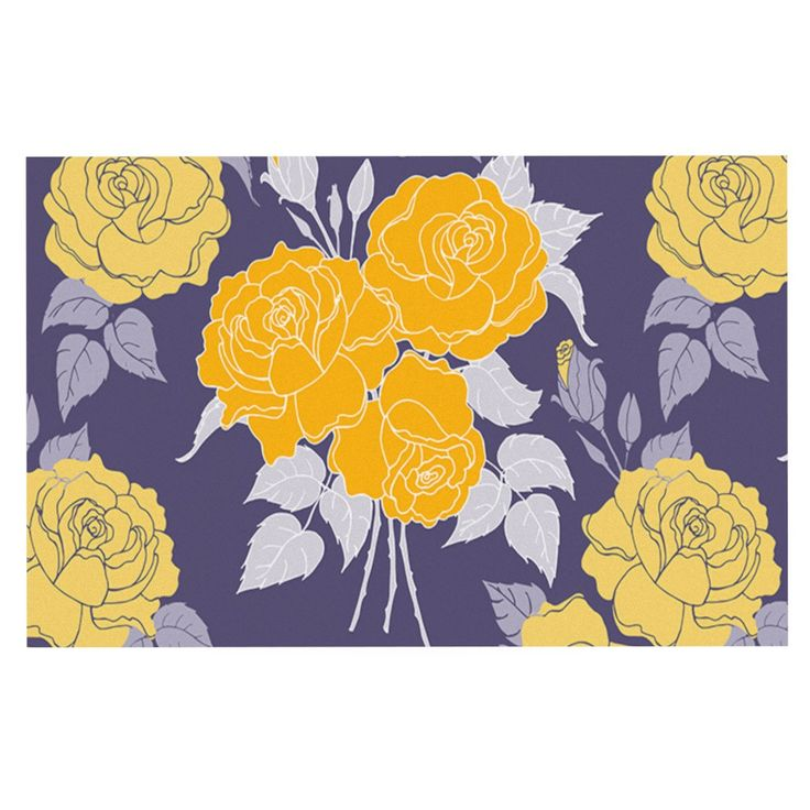 "Anneline Sophia ""Summer Rose Yellow"" Purple Lavender Decorative Door Mat"