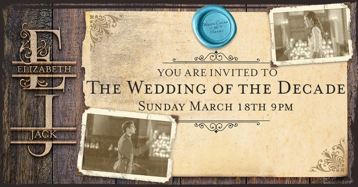 You are cordially invited to attend the wedding of the decade. RSVP to Jack and Elizabeth's wedding! Save the date and watch the nuptials on Sunday March 18 9/8c, only on Hallmark Channel. #Hearties #WCTH #HallmarkChannel