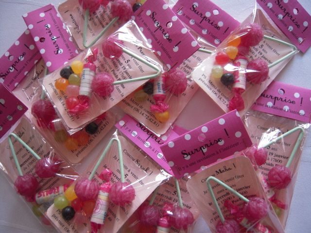 Invitation Anniversaire en sachets bonbons !!! Super Idée.