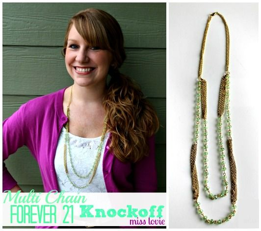 Multi Chain Forever 21 Knockoff Necklace Tutorial from Miss Lovie via @30daysblog
