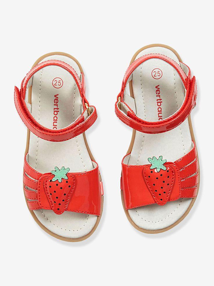 Sandales cuir fille spécial maternelle rouge vernis - Vertbaudet