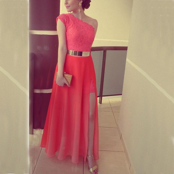 Cute One-shoulder Red Lace Chiffon Prom Dress with Slit, Evenign Dress 2016 #coniefox