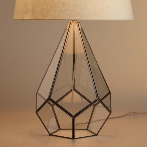 LIVING ROOM - One of my favorite discoveries at WorldMarket.com: Glass Terrarium Table Lamp Base