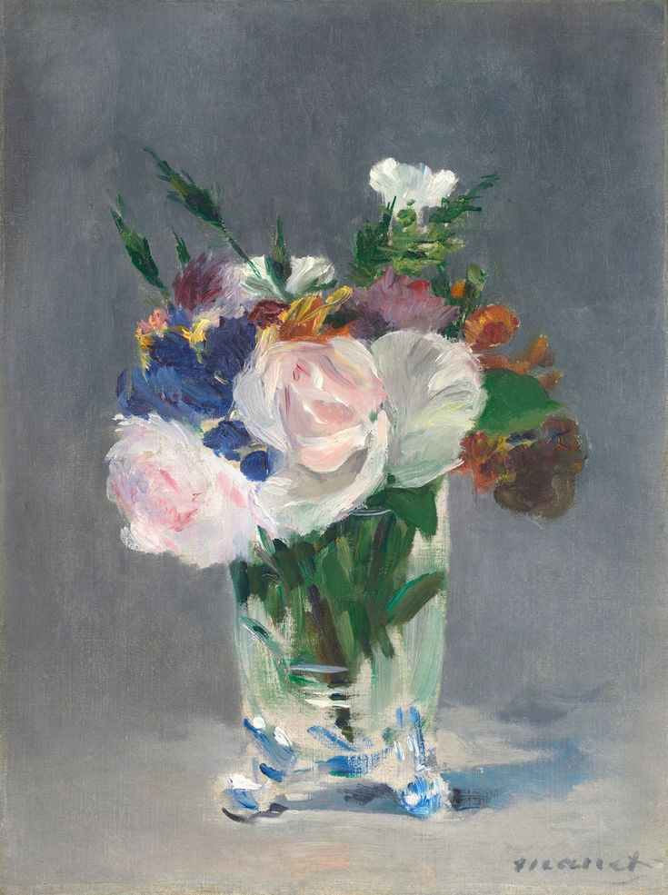 """ Édouard Manet (French, 1832-1883), Flowers in a Crystal Vase, c. 1882. Oil on canvas, 32.7 x 24.5 cm. """