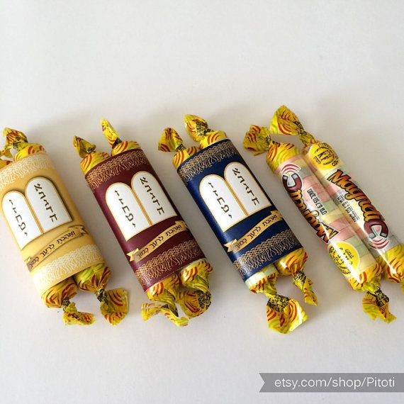 This is a digital file of candy wrappers for making little sefer torah party favors. This listing is for a Gold printable torah candy wrapper. use it for