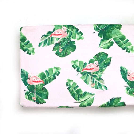 Changing Pad Cover Banana Leaves and Flamingos. Change Pad. Changing Pad. Minky Changing Pad Cover. Pink Changing Pad Cover.