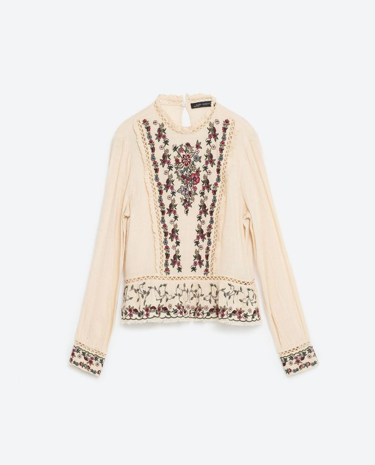 Image 8 of EMBROIDERED FRILLED TOP from Zara