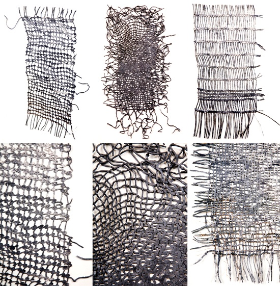 SUE LAWTY, LEAD 2009: woven lead strips, hammered.
