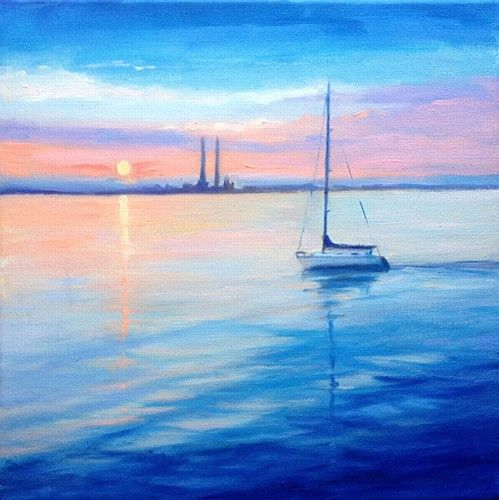 "Jane Meyler, ""Summer Sail from Dun Laoghaire"" #art #painting #summer #sail #sailing #DunLaoghaire #sunset #DukeStreetGallery"