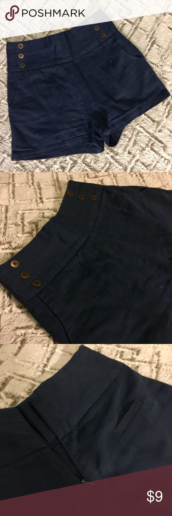 ⚓️ Nautical shorts Nautical style navy shorts. There's pockets and a small pocket in the back. Zipper in the back. Lucca Couture Shorts