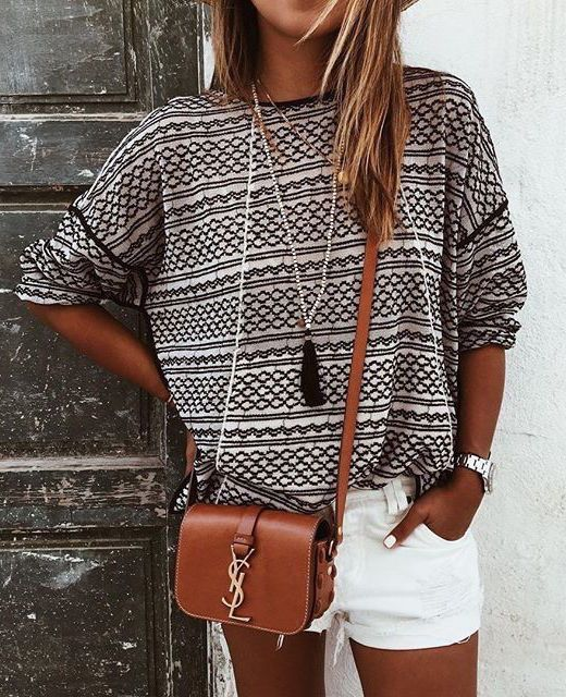 summer outfits pattern print top