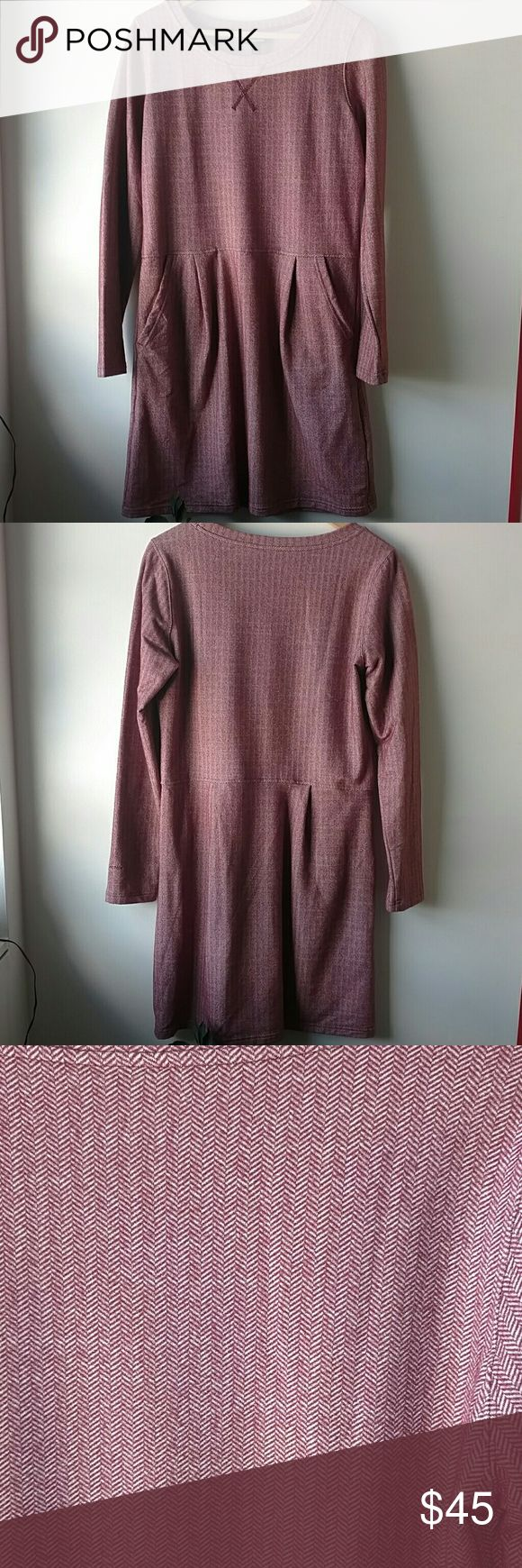 Patagonia dress Worn a few times, still in excellent condition, size medium, with pockets, great for cold weather, fits like a size 6, oxblood herringbone Patagonia Dresses Long Sleeve