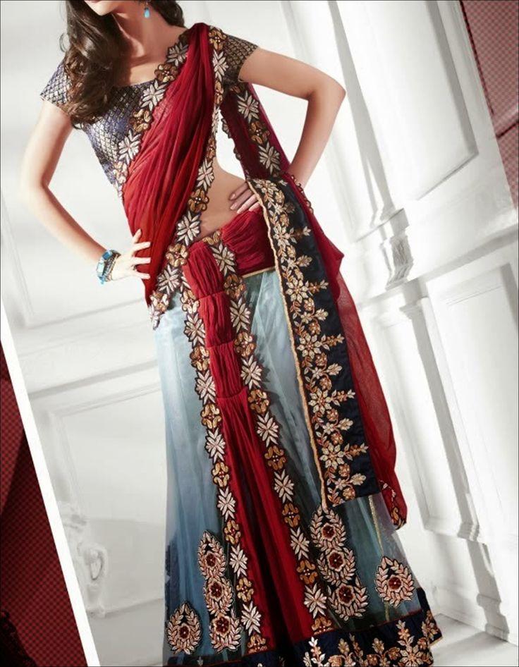 Blue and red sari Lehenga