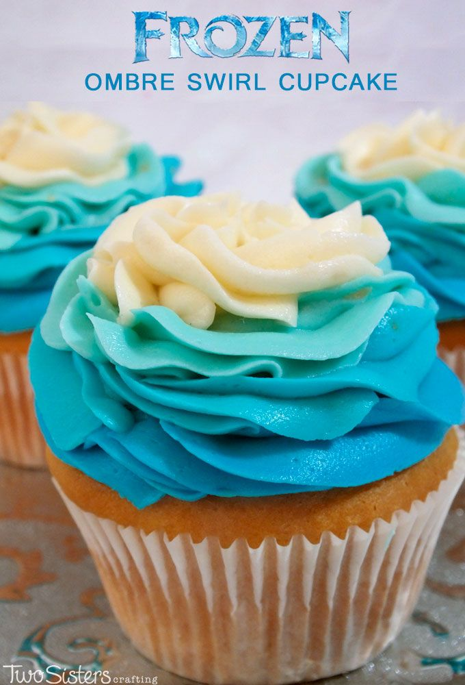 These Frozen Ombre Swirl Cupcakes will be the star of the Dessert Table at your Frozen Birthday party.  So gorgeous, so delicious, so easy to make, it is a cupcake fit for an Ice Queen. This special Frozen Party Treat is sure to be a hit with the Frozen fans at your party. For more great Frozen Party Ideas follow us at http://www.pinterest.com/2SistersCraft/