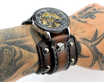 30e4fa955 Steampunk Watch with Riveted Aged Brown Leather Cuff, Men's Leather Cuff  Watch, Men's Gift, Anniversary Gift, Custom Leather Watch