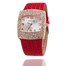 Alta calidad GoGoey lleno de diamantes relojes mujeres Square reloj de pulsera de cuero ginebra vestido de moda reloj de cuarzo relojes mujer 2015(China (Mainland))
