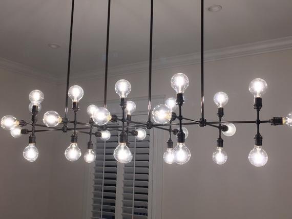 Contemporary Led Linear 30 Light Chandelier Sleek Modern