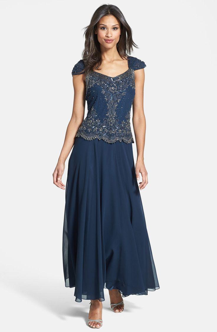 J Kara Beaded Cap Sleeve Chiffon Gown | Nordstrom