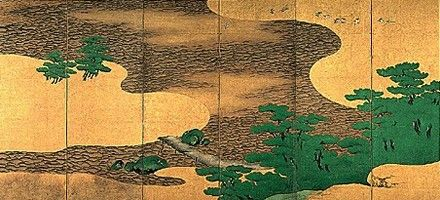 Beach and pine trees. Kaiho Yusho. 1605. Right of a pair of Japanese folding screens. Hamamatsu Byobu. 1605年 73歳の作品です。やまと絵の古典的題材浜松を主題にしています。
