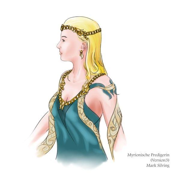 """Früher Entwurf einer myrionischen Priesterin für meine Buchreihe """"Aemeas""""."""