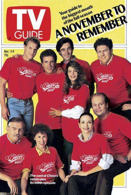 TV Guide November 3, 1990 - Woody Harrelson, Ted Danson, Roger Rees, Kirstie Alley, George Wendt, John Ratzenberger,  Rhea Perlman, Bebe Neuwirth and Kelsey Grammer of Cheers