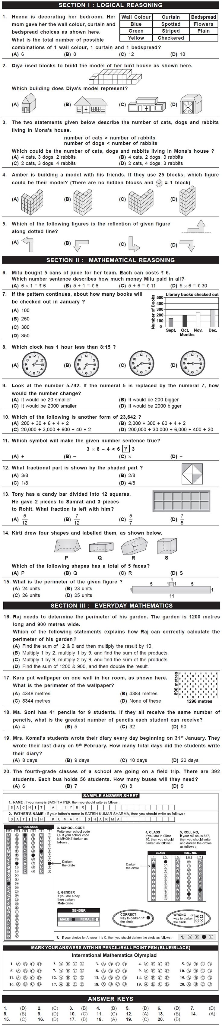 8th Imo Sample Papers For Class 4 2nd Level Exam 2015 Math Olympiad Maths Exam 2nd Grade Math Worksheets