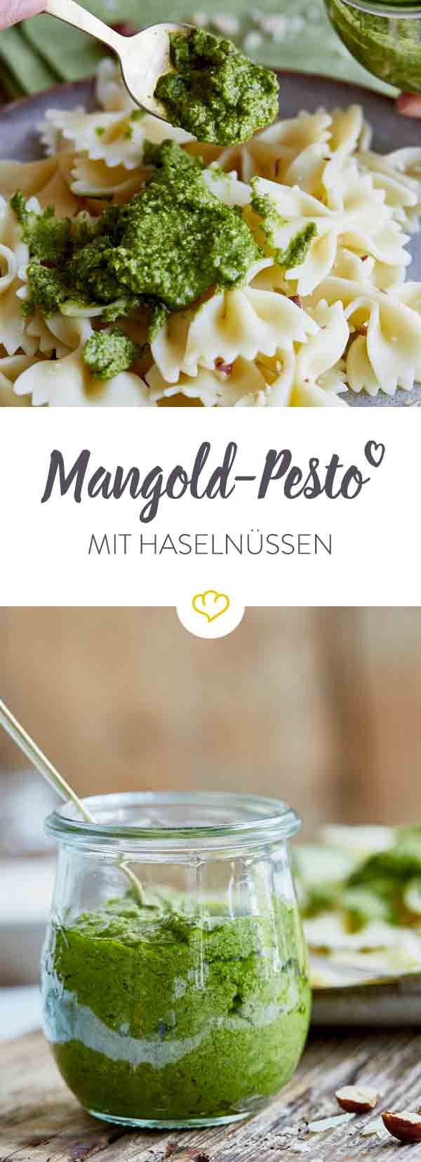 Ja, aus Mangold kann man wirklich prima Pesto zubereiten. Mit Zitronensaft, gerösteten Haselnüssen und Parmesan wird dein Mangold-Pesto herrlich aromatisch.