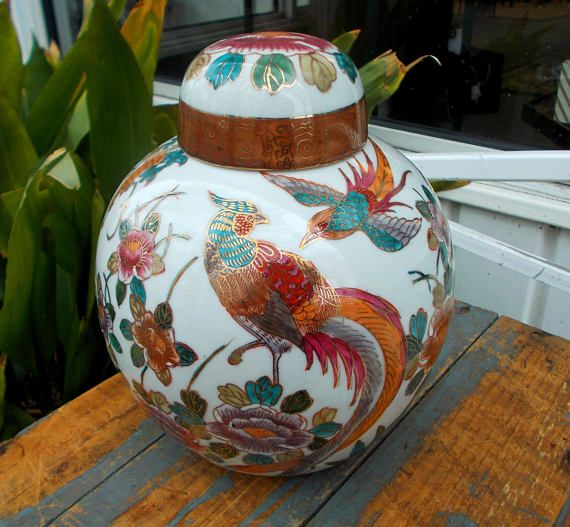 Gilded Pheasant Ginger Jar With Pink Peonies  Lidded Spice