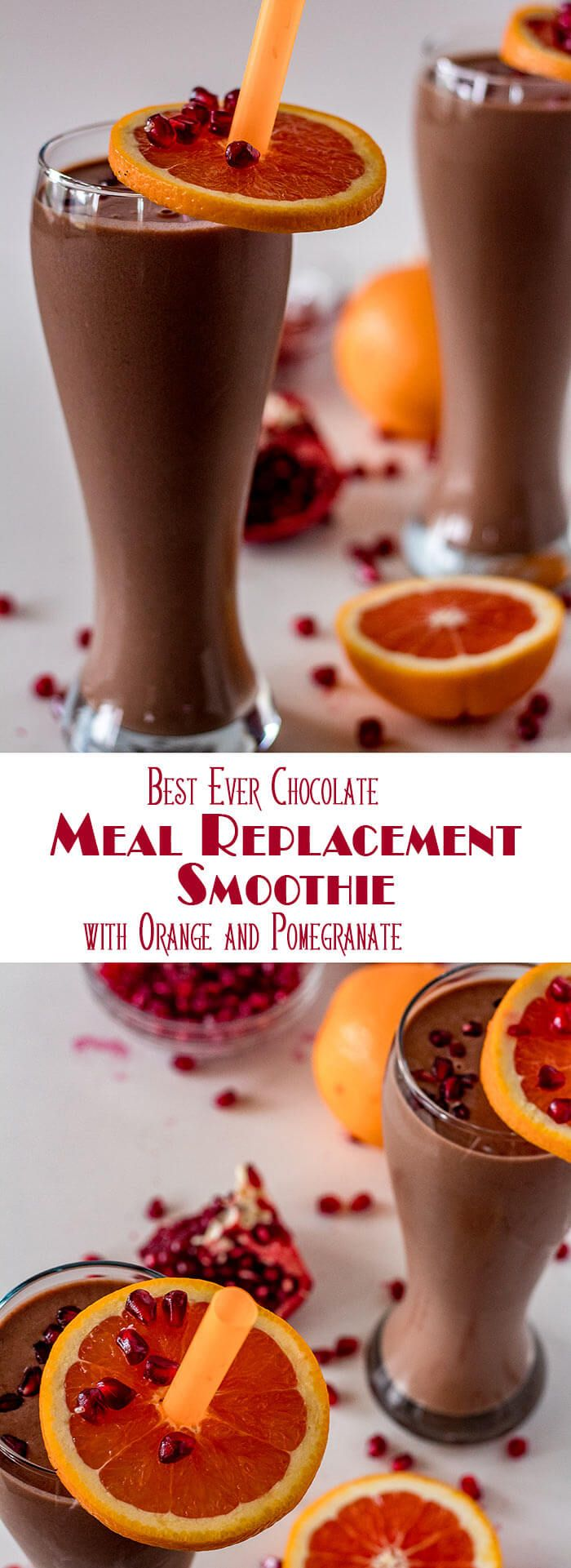 A chocolate, orange, and pomegranate smoothie that tastes more like a milk shake than a workout recovery drink? Yes! ThisBest Ever Chocolate Meal Replacement Smoothie comes in at 33 grams of protein per serving, and 443 calories with the help of Bob's Red Mill Protein and Fiber Nutritional Booster... A tasty (and healthy) start to the New Year! #BobsRedMill #mealreplacementsmoothie #chocolatesmoothie #chocolateproteinshake via @TamaraBMS