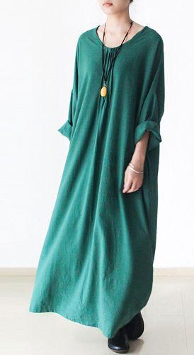 Emerald green plus size linen dresses long sleeve cotton dress