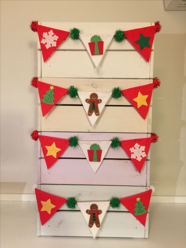 Christmas bunting made from felt and Pom poms to decorate ikea wooden crate to use as a Christmas hamper.  Ikea hack, bunting.