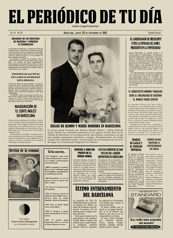 Enlace de Ramón y María Dorinda en Barcelona. Los protagonistas se emocionaron al recibir El Periódico de Tu Día en su aniversario. Un regalo original que emocionó a todos en la ceremonia. Recuerda que para sorprender a tus seres queridos podéis buscar regalos de cumpleaños, regalos de aniversarios, regalos de bodas, regalos de bodas de oro, regalos de bodas de plata, regalos de bautizos, regalos de comuniones y mucho más en El Periódico de Tu Día. Entra y descúbrelo. ;)