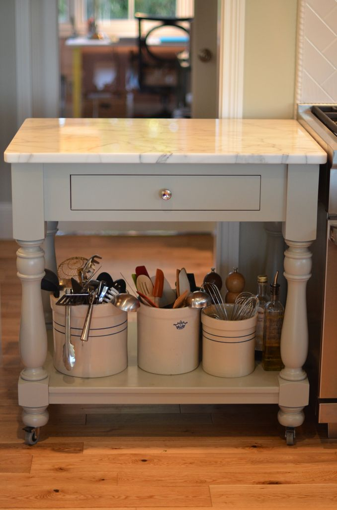 Create This Rolling Cart With A Marble Top For Small Kitchen Island Would Repurpose An Old Table Sand Paint Distress Add Drawer Hardware Look