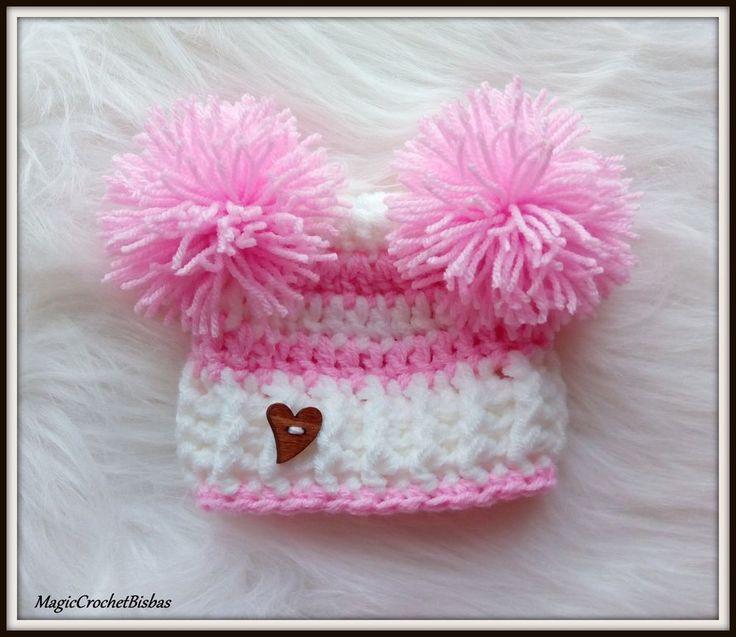 Crochet  little pompom hat photo prop gift baby shower