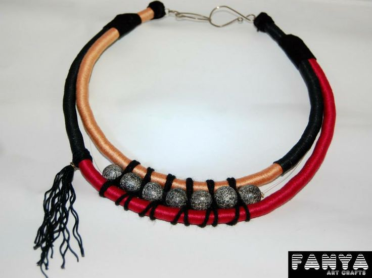 "Statement necklace ""Indio""  Made from paracords and handmade beads form air dry clay"