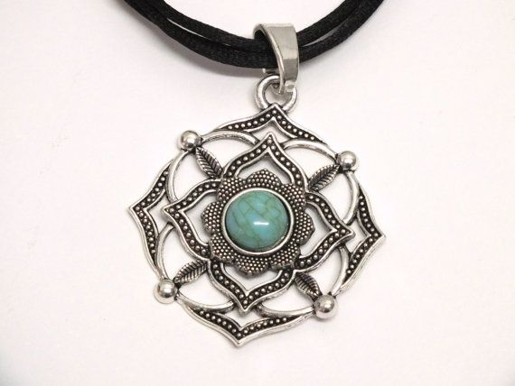 Mandala Turquoise Necklace Black Silk Cord Necklace by Hermitinas