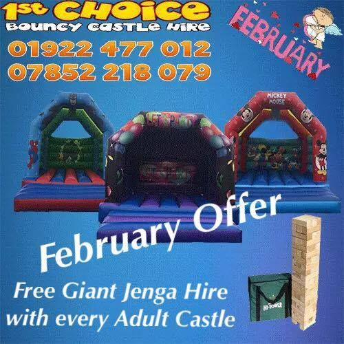 dear customers our February offer is here . Free giant jenga with any adult castle for the whole of February, please check out our website for more offers www.firstchoicebouncycastlehire.co.uk