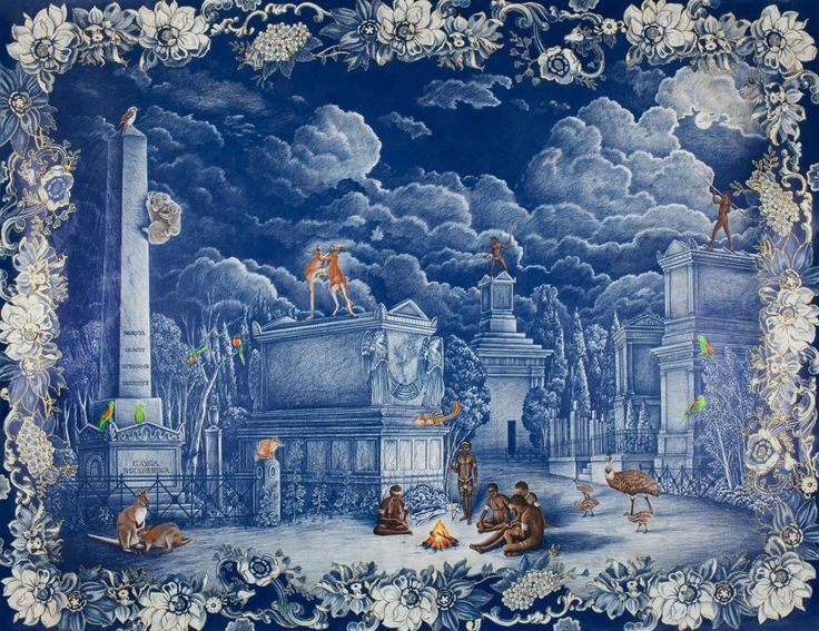Danie Mellor, The Elysian City (2010), pencil, pastel, glitter, Swarovski crystal and wash on Saunders Waterford paper 142 x 183 cm, (Collection of the National Gallery of Australia, Canberra)