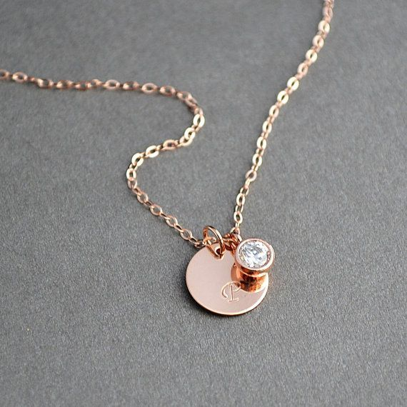Rose Gold Initial Necklace, Personalized Necklace, Bridesmaid Gift, Monogrammed Gifts, Wedding Jewelry
