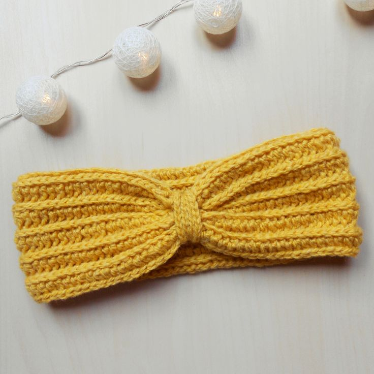 Crochet Headband - Crochet Earwarmer - Yellow Headband - Adult Size Headband - Crochet Accessories