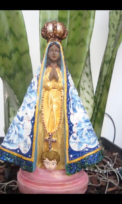 Nossa Senhora Aparecida, em gesso, 25 cm, pintada a mão, decoupagem